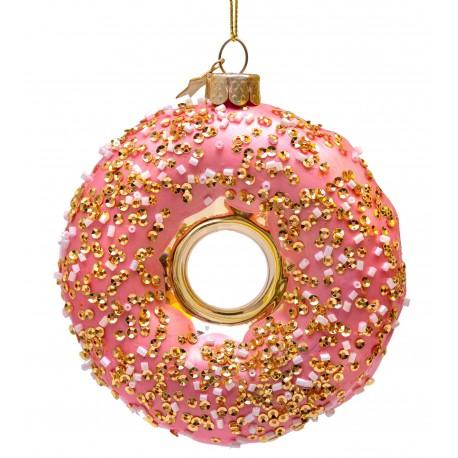 Kerstbal Donut Oranje met decoratie
