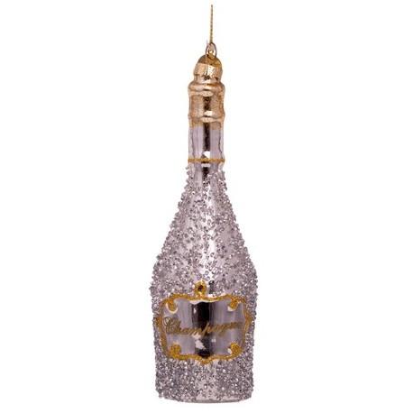 Kerstbal Fles Champagne Zilver-goud