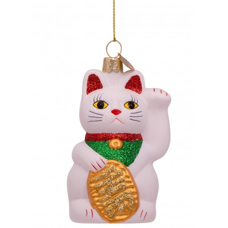 Kerstbal Lucky Cat Wit