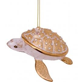 Kerstbal Schildpad met Diamanten Goud