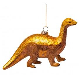 Kerstbal Dinosaurus Goud met glitters