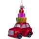 Kerstbal Rode Auto met Kadootjes