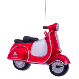 Kerstbal Scooter Rood-wit