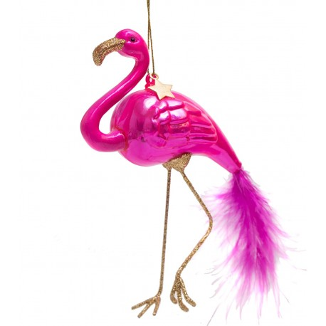 Kerstbal Flamingo Hard-roze