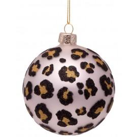 Kerstbal Print Luipaard Mat-zilver