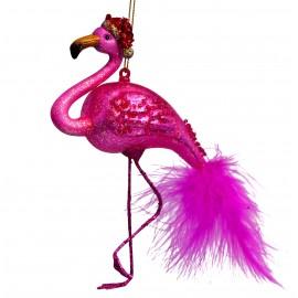 Kerstbal Flamingo Fuchia met Hoedje