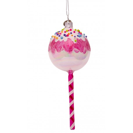 Kerstbal Lollie Rond Wit-roze