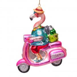 Kerstbal Flamingo op Scooter