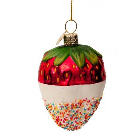 Kerstbal Aardbei in Witte Choco Dip