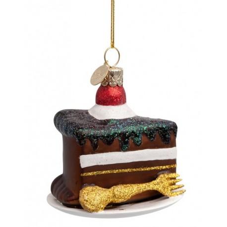 Kerstbal Chocolade Taartje met Gouden Vork
