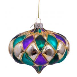 Kerstbal Onion Diamant Paars-groen
