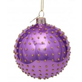Kerstbal Lila met Gouden Steentjes
