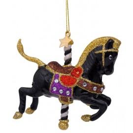 Kerstbal Draaimolen Paard Zwart