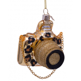 Kerstbal Camera Goud met Panter Print