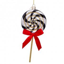 Kerstbal Lollie Zwart-wit