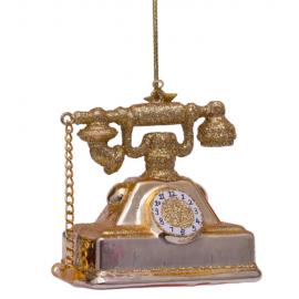 Kerstbal Vintage Telefoon Goud