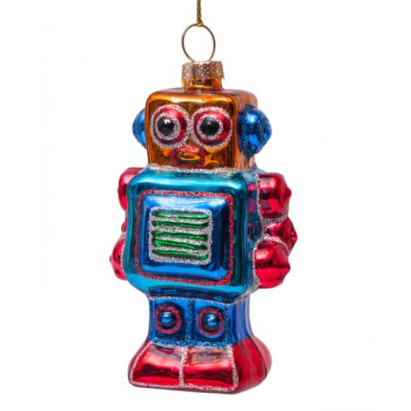 Kerstbal Robot Blauw