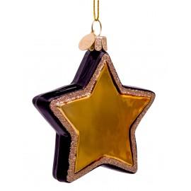 Kerstbal Ster Zwart-goud