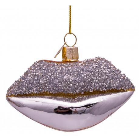 Kerstbal Lippen Zilver-goud Diamantjes