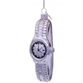 Kerstbal Horloge met Diamantjes Zilver