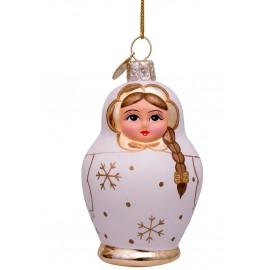 Kerstbal Babuschka Wit-goud