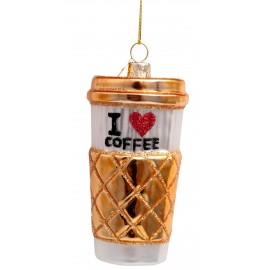 Kerstbal Koffie to Go Wit-goud