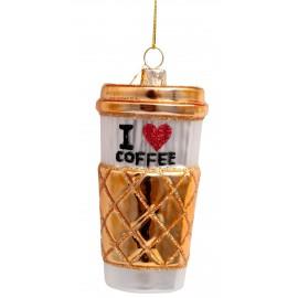 Kerstbal Koffie to Go Wit-goud