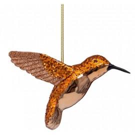 Kerstbal Kolibrie Cognac-goud