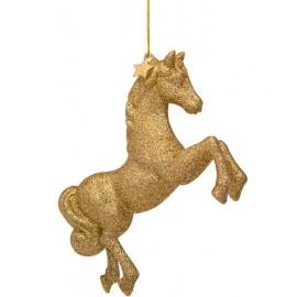 Kerstbal Paard Goud met Glitters