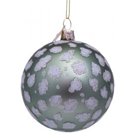 Kerstbal Mat groen met Luipaarden Print
