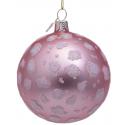 Kerstbal Mat roze met Luipaard Print