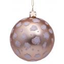 Kerstbal Mat champagne met Luipaard Print
