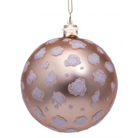 Kerstbal Mat champagne met Luipaarden Print