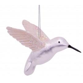 Kerstbal Kolibrie Zilver