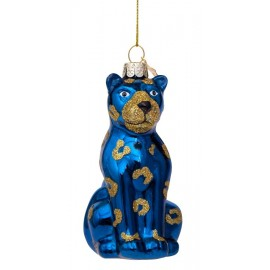 Kerstbal Zittende Panter Blauw-goud