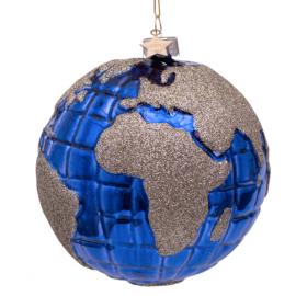 Kerstbal Planeet Aarde Blauw-zilver