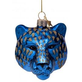 Kerstbal Panter Hoofd Blauw-goud
