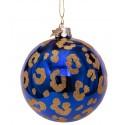Kerstbal Panter Blauw-goud