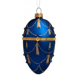 Kerstbal Faberge Ei Blauw-goud met Diamantjes