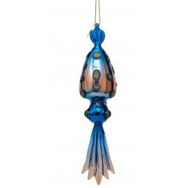 Kerstbal Zeevis Blauw-opaal met Diamantjes