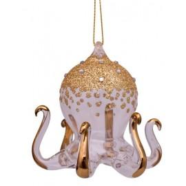 Kerstbal Octopus Goud-wit met Diamantjes