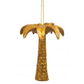 Kerstbal Palmboom Goud met Glitters