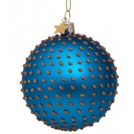 Kerstbal Oceean Blauw met Gouden Steentjes
