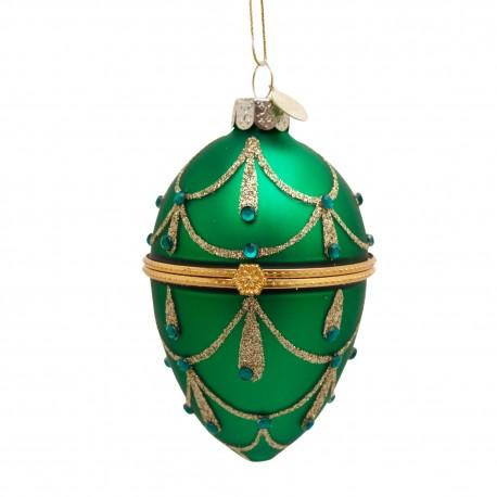 Kerstbal Faberge Ei Groen met Diamantjes