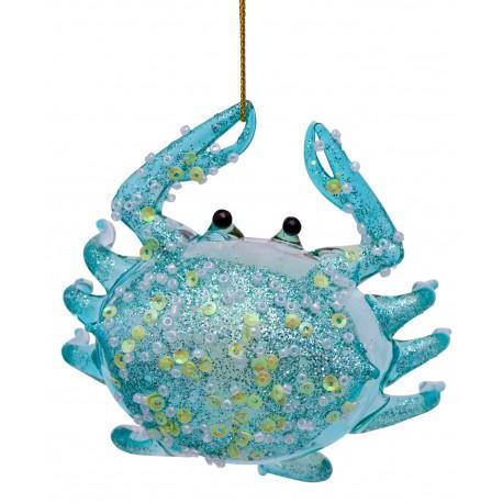 Kerstbal Krab Blauw Transparant