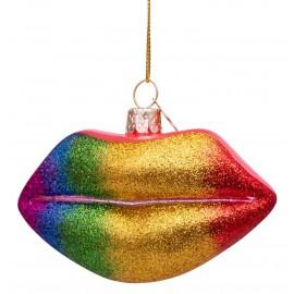 Kerstbal Lippen Regenboog