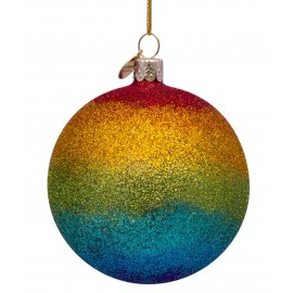Kerstbal Regenboog Glitter