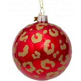 Kerstbal Rood-goud met Luipaarden Print