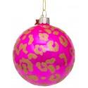 Kerstbal Fuchia-goud met Luipaarden Print