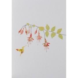 Dubbele kaart Fuchsia & Hummingbird